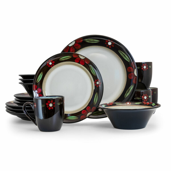 Elama Homestead 16 Piece Luxurious Stoneware Dinnerware with Complete Setting...